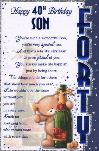 Son`s 40th Birthday Card - 'Happy 40th Birthday Son' - Great Quality Card