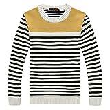 Btruely Strickpullover Herren Winter Sweater Rundhals Pullover Winter Gestreifter Sweatshirt Männer Langarmshirt Slim Fit Oberteile