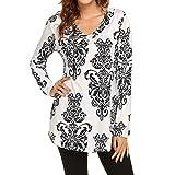 VEMOW Heißer Sommer Damen Mädchen Frauen Blumendruck Halbe Hülse Tägliche Beiläufige Partei Arbeit T-Shirt Unregelmäßige Tops Bluse Pullover Pulli(X1-Weiß 2, EU-40/CN-S)