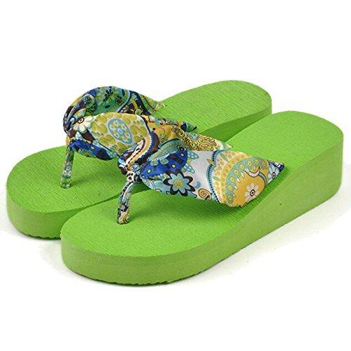 TOOGOO(R) Il fiore della Boemia di estate calza i pattini delle piattaforme delle piattaforme delle piattaforme delle donne dei sandali della piattaforma delle donne Dimensione 5 beige Verde