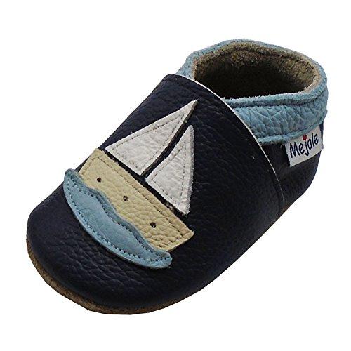 Mejale Karikatur Segelboot Leder Babyschuhe Lauflernschuhe Krabbelschuhe Kleinkind Kinderschuhe Hausschuhe(Dunkelblau, 24-36 Monate) (Kleinkind Sohle Leder Schuhe)