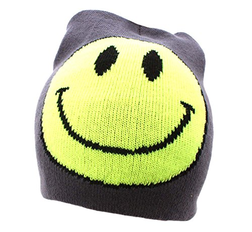 Sonia Originelli Winter Beanie Mütze Herz Stern Anker Pirat Totenkopf Smiley Warm Weich Cap C019 (Smiley-Grau)