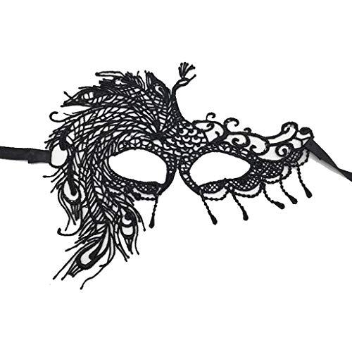 ze Maskerade Maske Venetian Eyemask Frauen Sexy Augenmaske Für Halloween KarnevalParty Kostüm Ball Schwarz (Farbe : 21-Peacock) ()