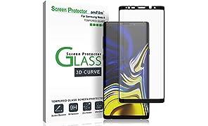 Galaxy Note 9 Pellicola Protettiva, amFilm Copertura Totale Vetro Temperato Protezione Schermo per Samsung Galaxy Note 9 (1 Pack, Nero)