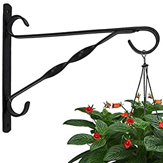 Amagabeli 10''Hanging Plant Hooks Forged Mount against Door Fence Deck Garage Balcony Outdoor Lawn Cast Iron Bracket for Planters Bird Feeder Lanterns Wind Chimes Plant Pot Basket with Hardware Needed