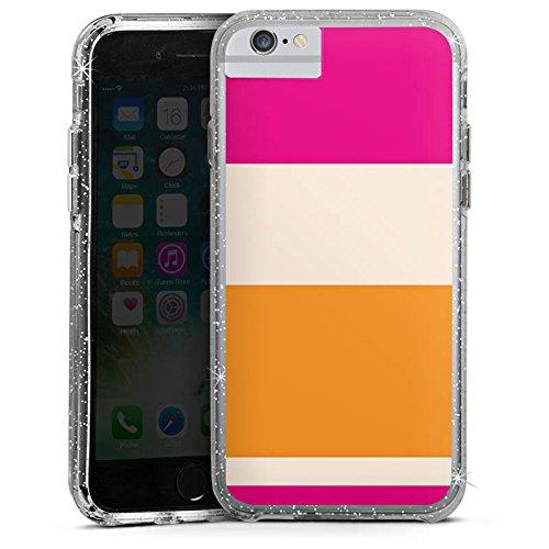 Apple iPhone 6 Bumper Hülle Bumper Case Glitzer Hülle Streifen Pink Orange Colourful Bunt Bumper Case Glitzer silber