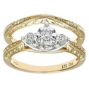 Ensemble Bague de fiançailles et alliance Femme - Or Jaune 375/1000 (9 Cts) 5 Gr - Diamant - T 49