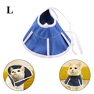 ASOCEA Adjustable Cats Dogs Surgery Recovery Collar Soft Pet Comfy Cone for Anti-Biting Lick Wound Healing Grooming (L)