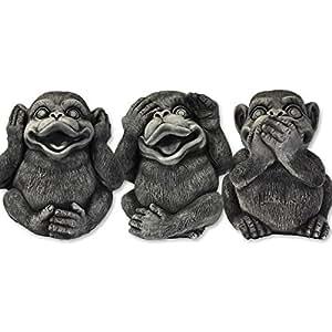 Décoration – 3 singes (Singes de la sagesse), en pierre reconstituée, importés de Thaïlande (10271)
