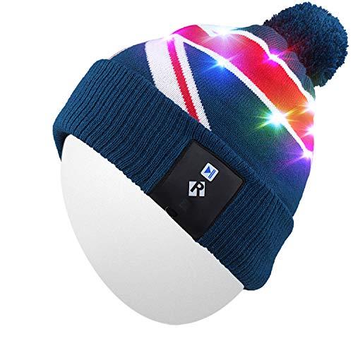 Qshell LED String Light Up Beanie Cappello a Maglia con Fili di Rame Luci Colorate 18 LED per Uomini Donne Indoor e Outdoor, Festival, FESTIVITÀ, Feste, Feste, Bar, Regali di Natale - Blu.
