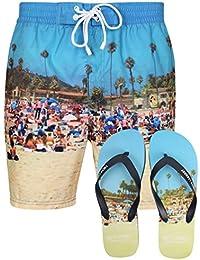 Tokyo Laundry Men's Tiki Beach Printed Swim Shorts in Cuba Beach with Free Matching Flip Flops Size S-XL
