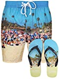 Tokyo Laundry Herren Gedruckte Badeshorts Surf Beach Board Badehose Free Flip Flops Gr. L, Tiki Beach - Royal Blue