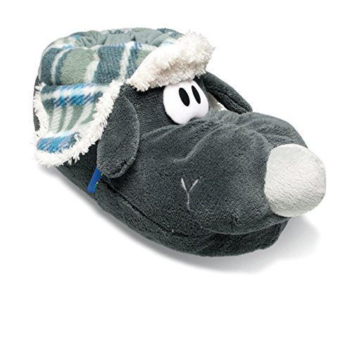 SAMs Plüsch Tierhausschuhe Hund Langschnauze Frostbeule Gr. 37-45 Anti Rutsch Sohle Schlappen Pantoffel, TH-ZHGR Grau