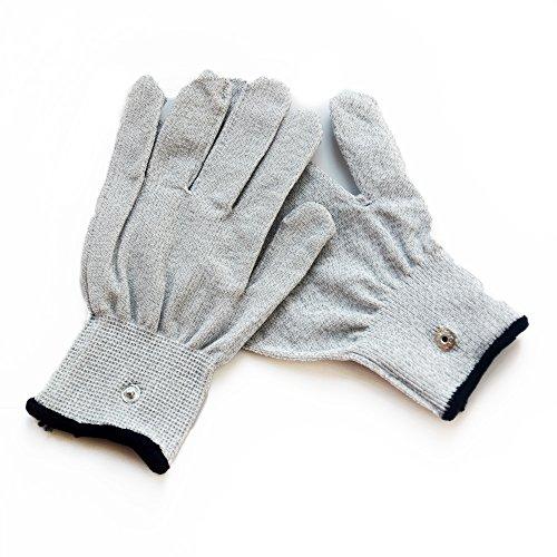 DR. ELECTRO ESTIM Reizstrom Handschuh, prickelnd elektrisierend, 2er Set, grau, verschiedene Größen (Größe S-M)