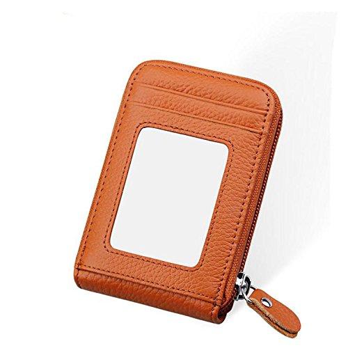 LZHA Mens und Women Slim RFID Kreditkarten Visitenkartenetui Brieftasche + Extra Beilagen,Brown