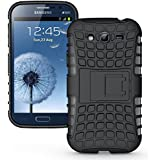 MACC Defender Series Dual Layer Hybrid TPU + PC Kickstand Case Cover for Samsung I9300 Galaxy S3 - Black