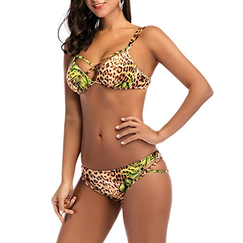 Frauen-Strand-reizvoller Leopard-Korn-Bikini stellt Verband-zweiteilige Badeanzug-Sätze ein