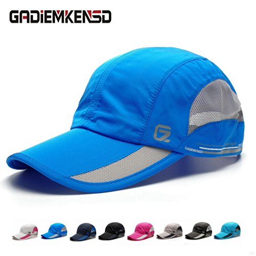 GADIEMKENSD Quick Dry Sports Hat Lightweight Breathable Soft Outdoor Run Cap (Classic up, Blue) (Armour Under Mesh Visor)