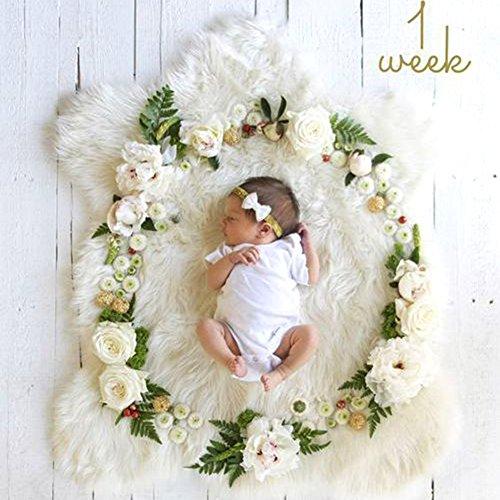 Amorar Neugeborenes Fotografie Accessoires, DIY Neugeborenes Fotografie Foto Requisiten Wrap monatliche Meilenstein Decke Foto Hintergrund, Baby Fotoshooting Wrap (Blume+Buchstaben)