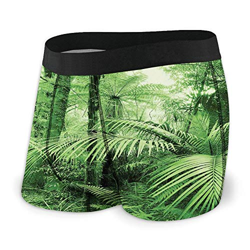 Generic Men's Underwear Sports Boxer Briefs, Palm Trees and Exotic Plants in Tropical Jungle Wild Nature Theme Illustration,XL -