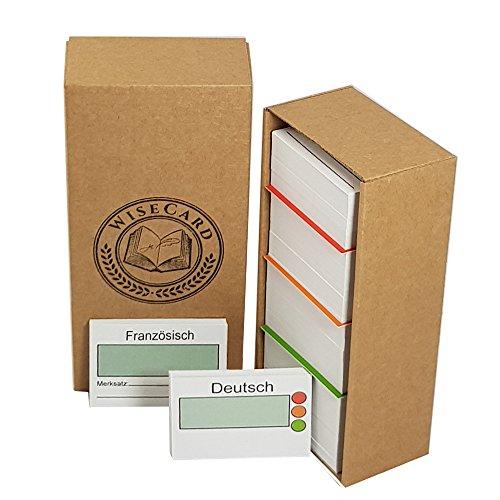 WiseCard   FRANZÖSISCH LERNSYSTEM, 450 Karten DIN A8 Format, MADE IN GERMANY, Recyclingpapier mit handlicher Karteikartenbox für schnelles und frustfreies Lernen über 4 Ebenen.