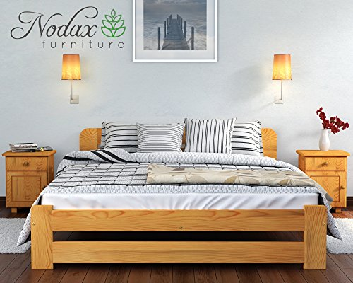 "New Solid Wooden Pine Bed Frame with plywood slats ""ONE"" : (Alder, Double)"