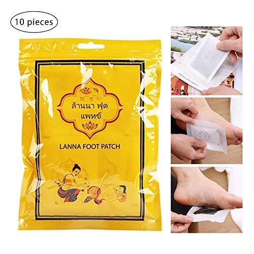 Fuß-pad, Die Giftstoffe Entfernen (KOBWA Entgiftungs-Fuß-Pflaster, 10 Stück, für die Körperreinigung, fördert die Durchblutung, verbessert den Schlaf, lindert Müdigkeit.)