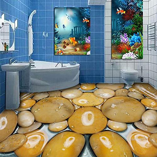 Benutzerdefinierte 3D Boden Wandbild Tapete Gelbe Steine   Stereoskopische Kristall Sauberes Wasser Wandbild Bad PVC Selbstklebende Boden Aufkleber 200 cm (L) x 140 cm (W) - Wasser-bad-kristalle