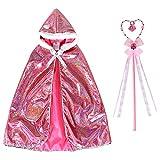 Joinfun 2 Stück Prinzessin Aurora Umhang mit Kapuzen Zauberstab Cape Mädchen Halloween Party Cosplay Verkleidung Set Rosa