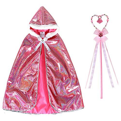 Joinfun Princess Anna Cape Cape avec Cape de Princesse avec Une Baguette Magique Princesse Habiller pour Les Filles fête Enfants de 3 Ans
