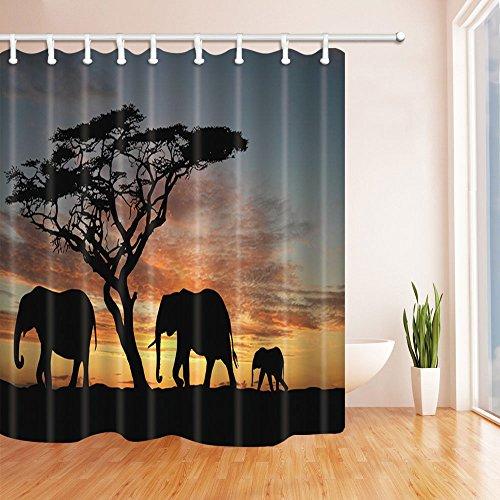 rhänge von KOTOM Migrate Elefantenfelsen auf Afrika Savanne am Sun Set Hintergrund Natur Print Bad Vorhänge, 69X70 Zoll ()