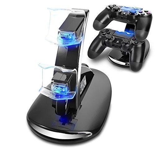 AMANKA PS4 Controller Ladestation Charger, Ladegerät Stand mit USB Kabel für Playstation 4 / PS4 Slim / PS4 Pro Game Controller, Schwarz - überspannungsschutz-ladestation