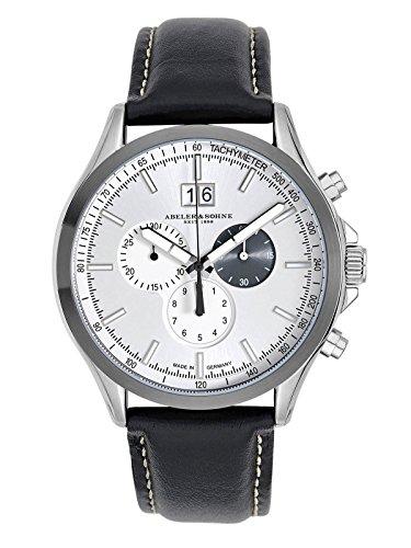 Abeler & Söhne fabricado en Alemania Reloj de hombre con cronógrafo, cristal de zafiro y correa de piel as3251