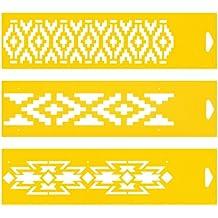 30cm x 8cm (Juego de 3) Stencil Plantilla Plástico Reutilizable para Decoración Pasteles Paredes Tela Muebles Manualidades Arte Artesanía Diseno Gráfico Dibujo Técnico - Pampas Azteca Patrón étnico