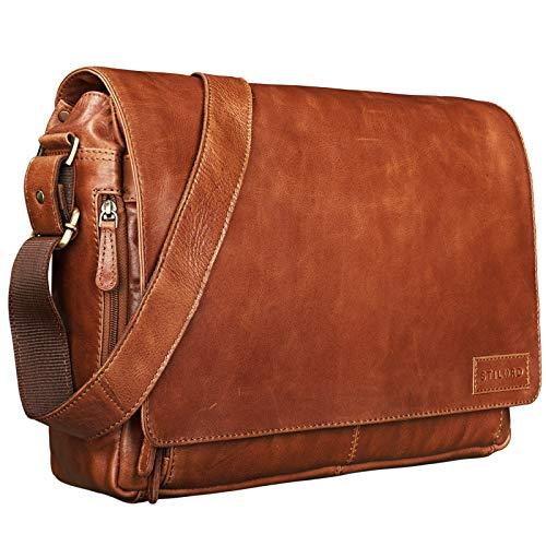 STILORD \'Rick\' Schultertasche Leder für 15,6 Zoll Laptop Umhängetasche Aktentasche Bürotasche Unitasche Büffel-Leder, Farbe:Cognac - glänzend