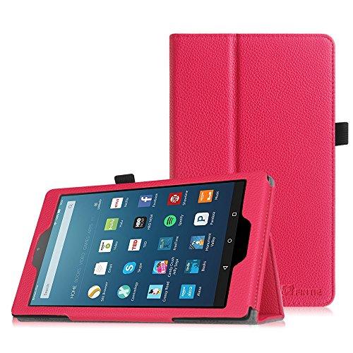Fintie Fire HD 8 2016 Case - Folio Cover Custodia Con Auto Funzione Sonno/Veglia per Amazon Nuovo tablet Fire HD 8, schermo HD da 8'' (6ª generazione - modello 2016) - Magenta