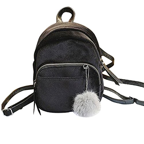 Trada Sportbeutel, Mini Fur Ball Rucksack Mode Schultertasche Einfarbig Frauen Mädchen Reise Schultaschen Reißverschluss Mädchen-Schule-Beutel Freizeitrucksack Reisetaschen (Schwarz)