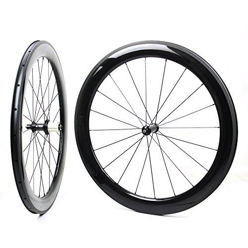 Yuanan 60mm 700C Road Bike Carbon Laufradsatz Aero Fahrrad Laufrad mit Bitex Gerade Pull Hub Stahlrohr Tubeless -