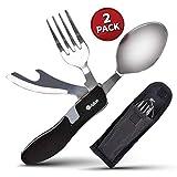 Utensilios para ir de camping, 4 en 1 – Juego portátil de cuchara, tenedor y abrelatas/abrebotellas en acero inoxidable, con estuche - 2 Unidades
