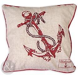 Just Contempo Funda de cojín con ancla, 45,72 x 45,72 cm, algodón, Rojo, 18 x 18 inches