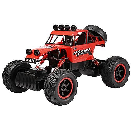 Profun 4WD RC Rock Crawler Ferngesteuertes Auto 2.4GHz 1/12 Remote Control Crawler Truck Geländewagen Wiederaufladbare Batterien Enthalten (Rot8)