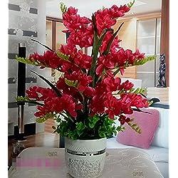 Hctina Künstliche Fake Blume Phalaenopsis Orchidee Bundle silk Blume Romantische stilvoller Esstisch rote Pflanzen Topfpflanzen