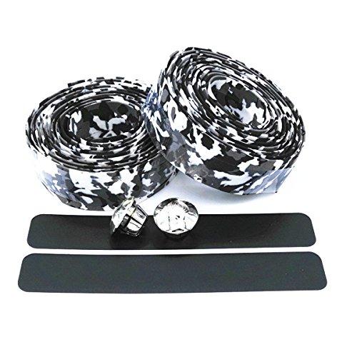 ECYC® Colorful Cycling Griff Gürtel Fahrrad Lenkerband Wrap +2 Bar, Black & White