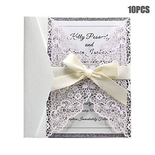 -Karten, eleganter weißer Laser geschnittene Hochzeits-Einladungs-Karten für Heirat-Verlobungs-Geburtstags-Brautparty mit Umschlägen und klebenden Dichtungen-Gastgeschenken ()