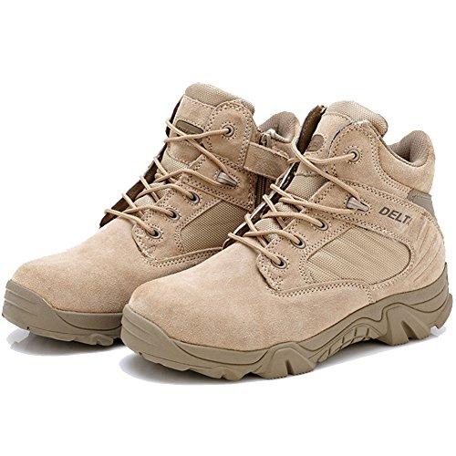 LiliChan Männer Taktische Stiefel Delta Side Reißverschluss Uniform Military Work Stiefeletten (42, Bräune) (Kalb-kleid-boot)