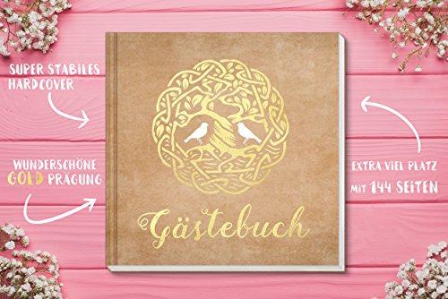Sophies Kartenwelt Gästebuch Hochzeit - Goldfoliengeprägtes Hardcover / 144 weiße Seiten/Format: 21 x 21 cm/Hochzeitsgästebuch/Hochzeitsalbum/Hochzeitsgeschenk - 3