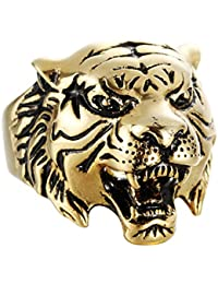 Beydodo Jewellery Titanium Rings for Men, Gold/Silver Animal Head Tiger Ring Bands Size N 1/2-Z 1/2 Mens Ring