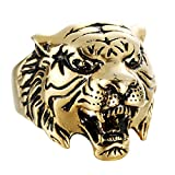 Bishilin Punk Herren Ring Titan Tier Kopf Tiger Partnerringe Gothic Gold Ring Größe 65 (20.7)