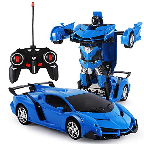 leegoal Transform Car Robot, RC Robot Deformation Car Model Toy for Children, Transforming Robot Remote Control Car with One Button Transformation & LED Lights RC Cars Toy for Kids (Blue)