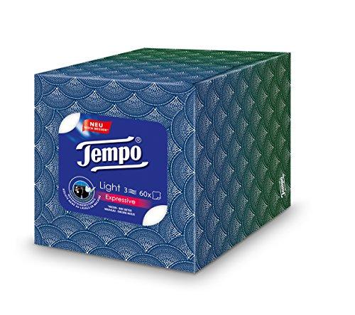 Tempo Light Box Papiertücher, Würfel-Box mit Taschentüchern, 1 x 60 Tücher
